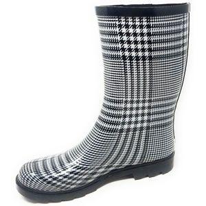 Women's Rubber Mid Calf Rain Boots, #5510, Plaid